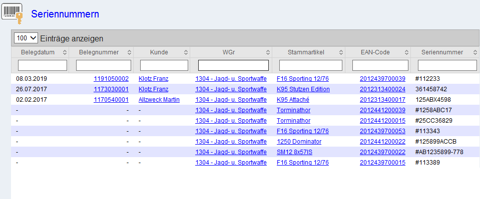 Seriennummernverwaltung