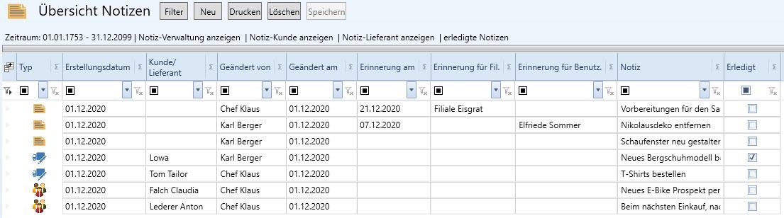 Notizen Verwaltung